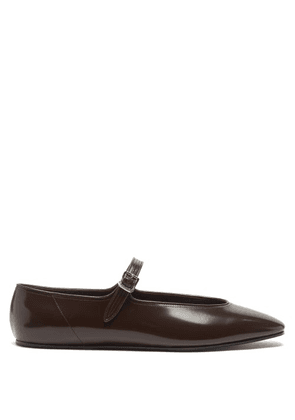 The Row - Olga Patent-leather Mary Jane Flats - Womens - Brown