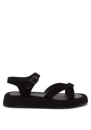 The Row - Geri Buckled-strap Suede Sandals - Womens - Black