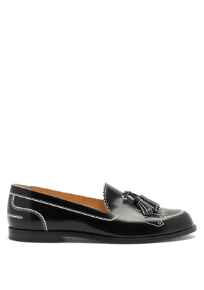 Christian Louboutin - Trompinetta Embossed Leather Loafers - Womens - Black White
