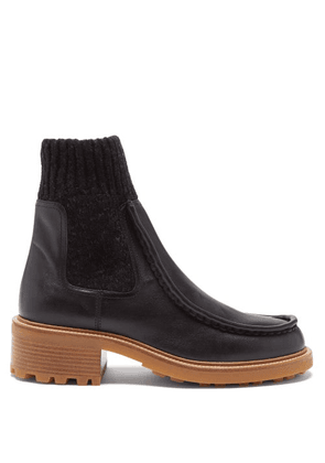 Chloé - Jamie Knitted-cuff Leather Ankle Boots - Womens - Black