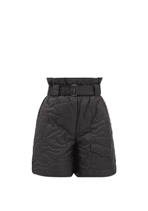 Ganni - Quilted Recycled-fibre Ripstop Shorts - Womens - Black