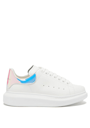 Alexander Mcqueen - Oversized Holographic-heel Leather Trainers - Womens - White Multi