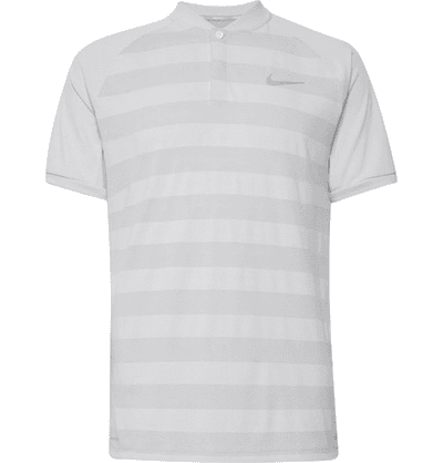 c7a7a44b8f Nike Golf | Zonal Cooling Momentum Striped Mesh Golf T-shirt | Gray |  MILANSTYLE.COM