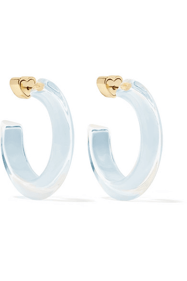 01575df6e3de8 Alison Lou - Small Jelly 14-karat Gold-plated, Enamel And Lucite Hoop  Earrings - one size