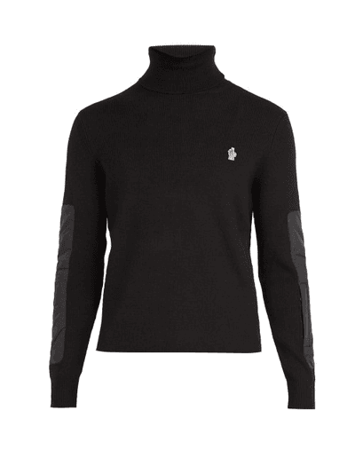 47ecf80a3 Moncler Grenoble - Logo Embroidered Roll Neck Wool Blend Sweater - Mens -  Black