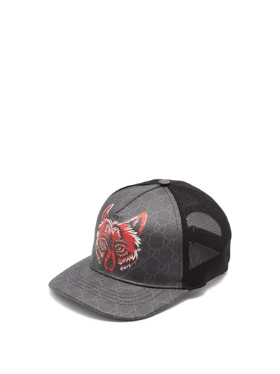 d8dbe9726 Gucci | Gg Supreme Wolf Print Trucker Cap | Mens | Black | MILANSTYLE.COM