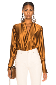 f1609f6e50 Alix Reade Bodysuit in Metallic Copper | MILANSTYLE.COM