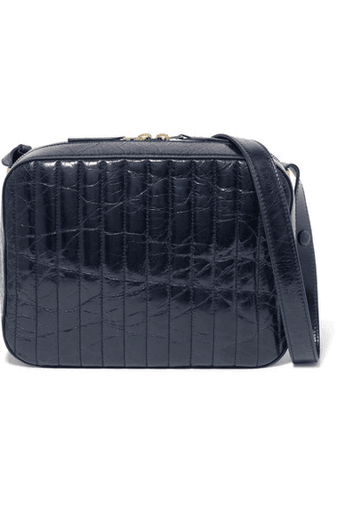 5d2b67f02f69 Victoria Beckham | Quilted Textured-leather Camera Bag | Midnight blue |  MILANSTYLE.COM