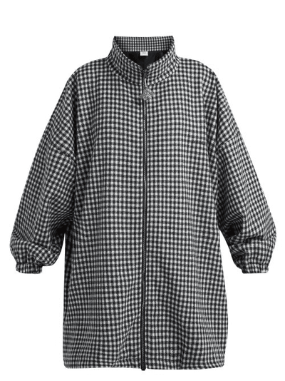 real quality special discount a few days away Vetements | Gingham Zip Up Pea Coat | Womens | Navy White ...