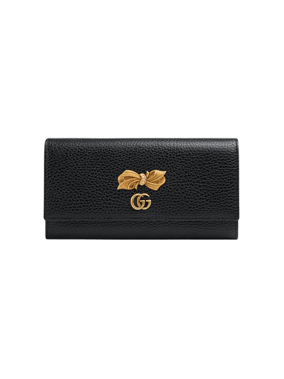 a94f43391ecc93 Gucci Leather continental wallet with bow | Black | MILANSTYLE.COM