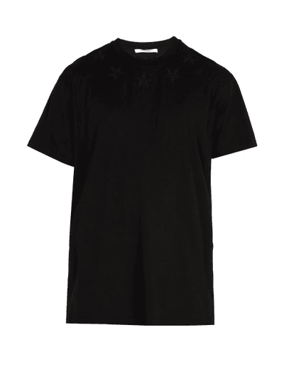 9e4d71d72bf451 Givenchy | Star Embroidered Long Line T Shirt | Mens | Black |  MILANSTYLE.COM