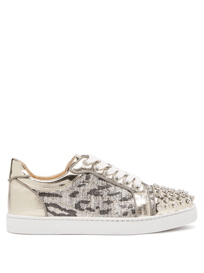 Christian Louboutin Vieira Spike embellished Tweed Trainers Womens Silver