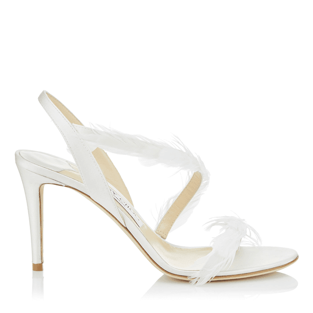 63628e1d87a CLARENCE 85 Ivory Satin Sandals with Feathers
