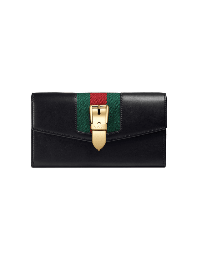 6774a8c1ad67 Gucci Sylvie leather continental wallet | Black | MILANSTYLE.COM