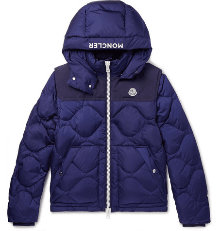 a584de265 Moncler - Arles Quilted Shell Hooded Down Jacket With Detachable Sleeves -  Royal blue