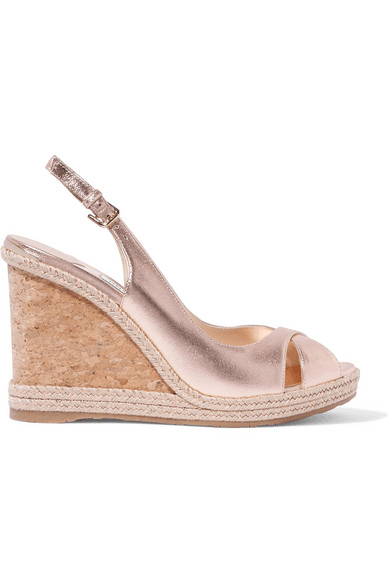 fdaa3fc01e Jimmy Choo | Amely 105 Metallic Leather Espadrille Wedge Sandals ...
