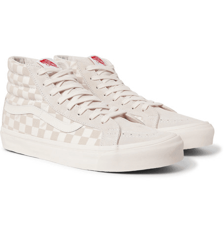 9898cc62627dfb Og Sk8-hi Lx Checkerboard Canvas And Suede High-top Sneakers ...