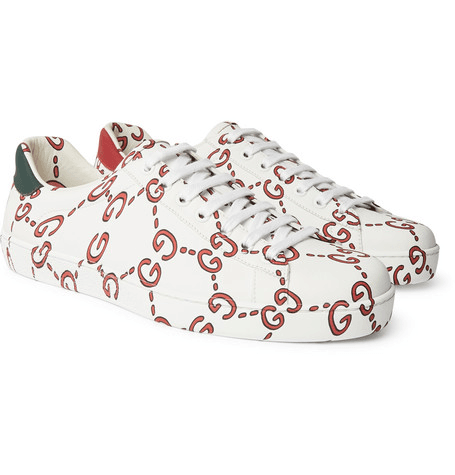 9ea218822 Gucci | New Ace Logo-print Leather Sneakers | White | MILANSTYLE.COM
