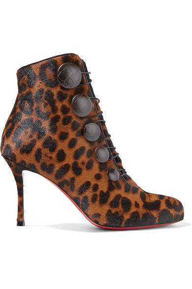 60136cc93 Christian Louboutin | Booton 85 Leather-trimmed Leopard-print Calf ...