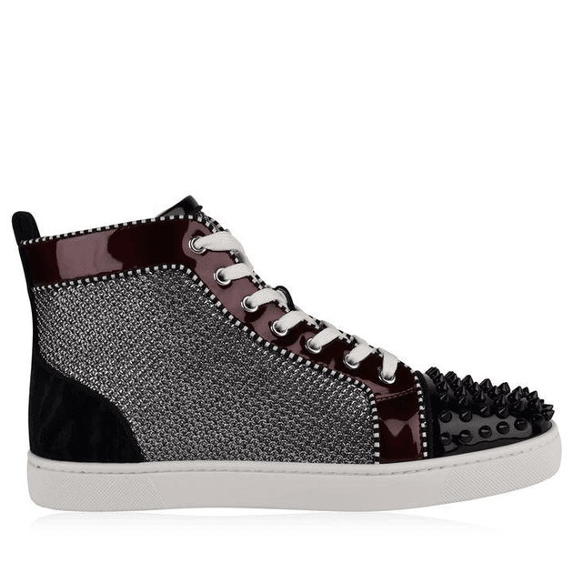 lowest price bdb40 0a3f2 CHRISTIAN LOUBOUTIN Spikes Orlato Patent Glitter High Top Trainers
