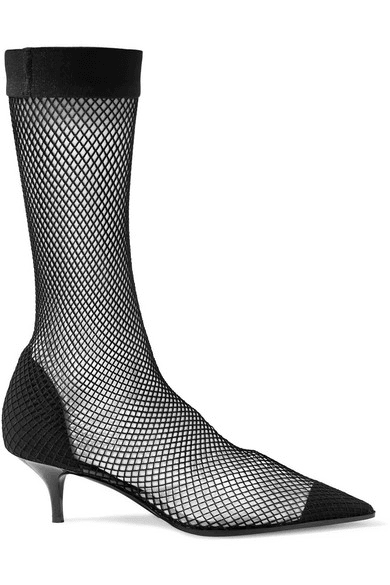 Stella Mccartney Fishnet Faux Suede And Pu Sock Boots Black