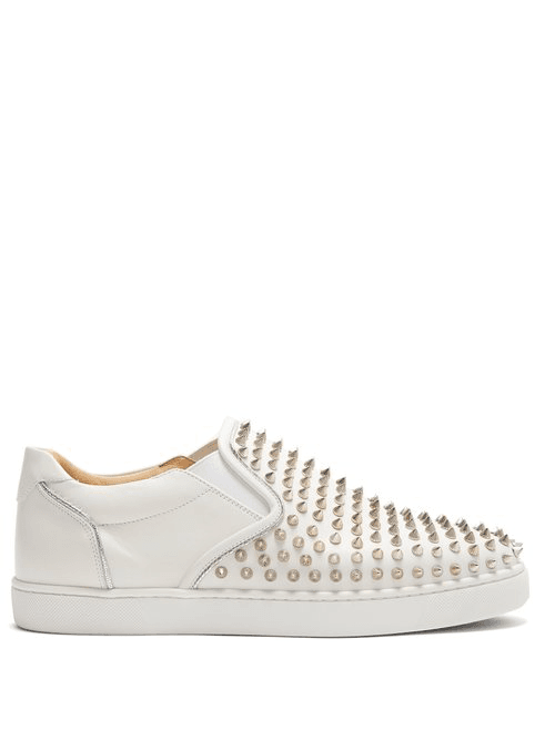 reputable site f3bdd a499f Christian Louboutin - Sailor Boat Spike Embellished Slip On Trainers - Mens  - Silver