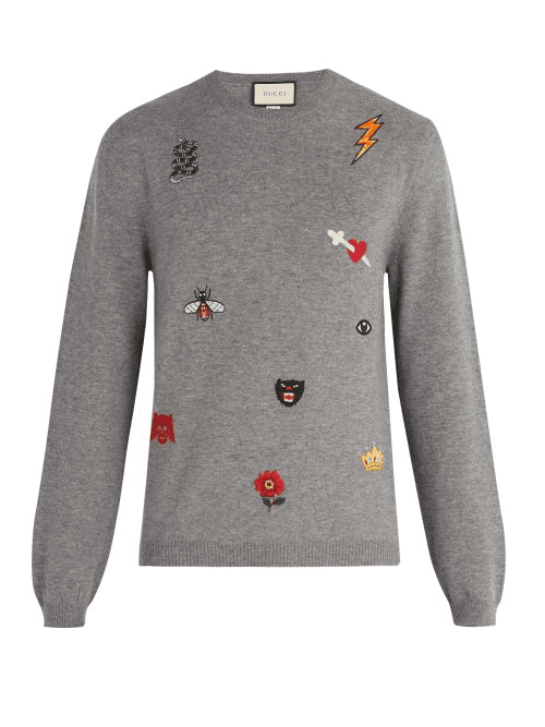 f3607c136 Gucci | Embroidered Wool Sweater | Mens | Grey | MILANSTYLE.COM
