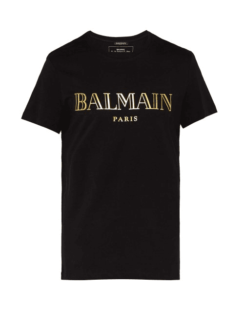 fdfa82889597 Balmain | Logo Cotton T Shirt | Mens | Black Gold | MILANSTYLE.COM