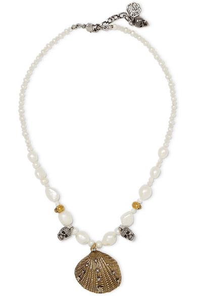 9bb0d5aeb Alexander McQueen | Gold And Silver-tone, Crystal And Faux Pearl ...