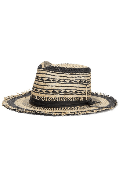 f1af7e682512d6 Nick Fouquet | Vagues Negra Leather-trimmed Straw Fedora | Black ...