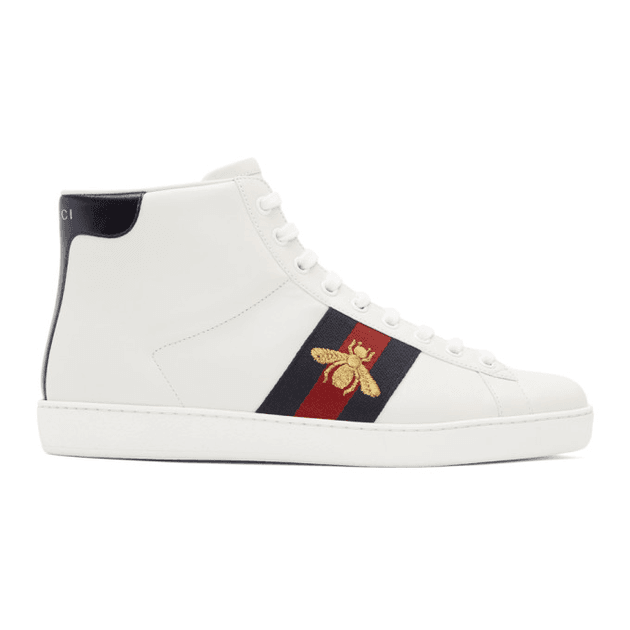Gucci White Bee New Ace High Top Sneakers Milanstylecom