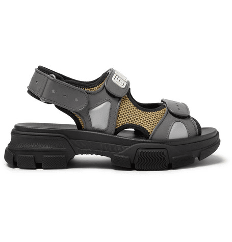 5fa8cb3370af Gucci - Leather And Mesh Sandals - Black