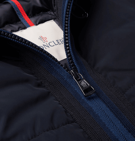 516889051 Moncler | Webbing-trimmed Shell Hooded Down Jacket | Navy ...