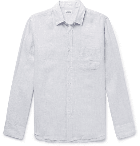 ebfcb68f100964 Hartford | Storm Slim-fit Striped Linen Shirt | Light gray | MILANSTYLE.COM