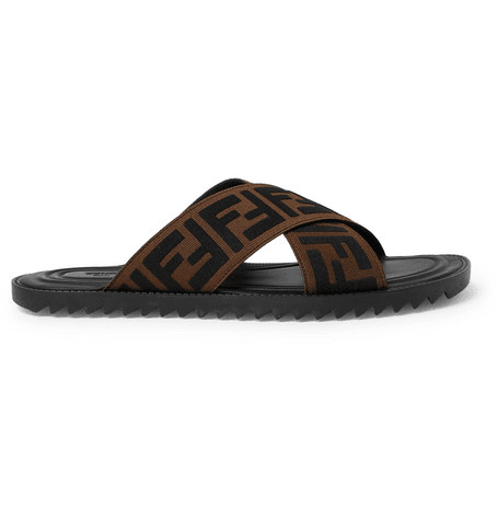 dd9b446a93e5 Fendi - Logo-appliquéd Webbing Sandals - Brown