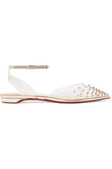 cheaper a2b5a 73aa9 Christian Louboutin - Spikoo Spiked Pvc And Mirrored-leather Point-toe  Flats - Silver