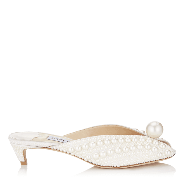1ba2b3017c SAMANTHA 35 White Satin Mules with All Over Pearls | MILANSTYLE.COM