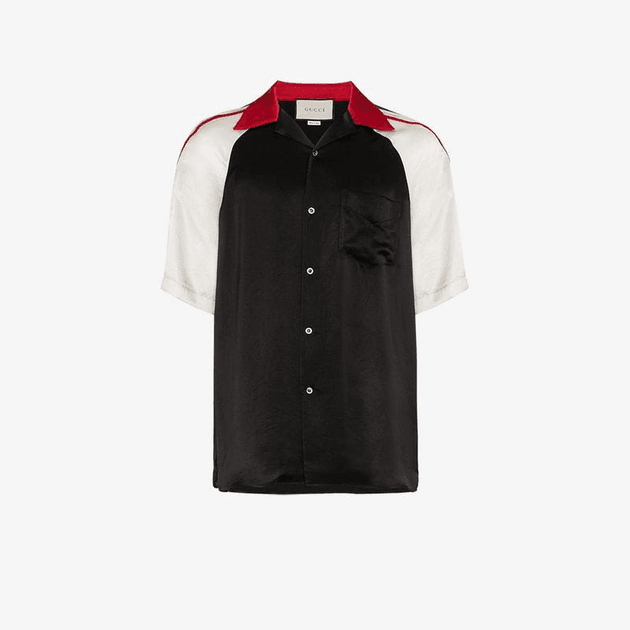 12f5468684d2 Gucci Acetate bowling shirt with Gucci stripe | MILANSTYLE.COM
