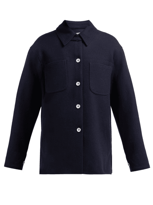 Acne Studios Odenna Boiled Wool Blend Overshirt Womens Navy