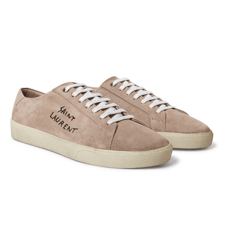 326d312d5ef Saint Laurent | Sl/06 Court Classic Leather-trimmed Embroidered Suede  Sneakers | Pink | MILANSTYLE.COM