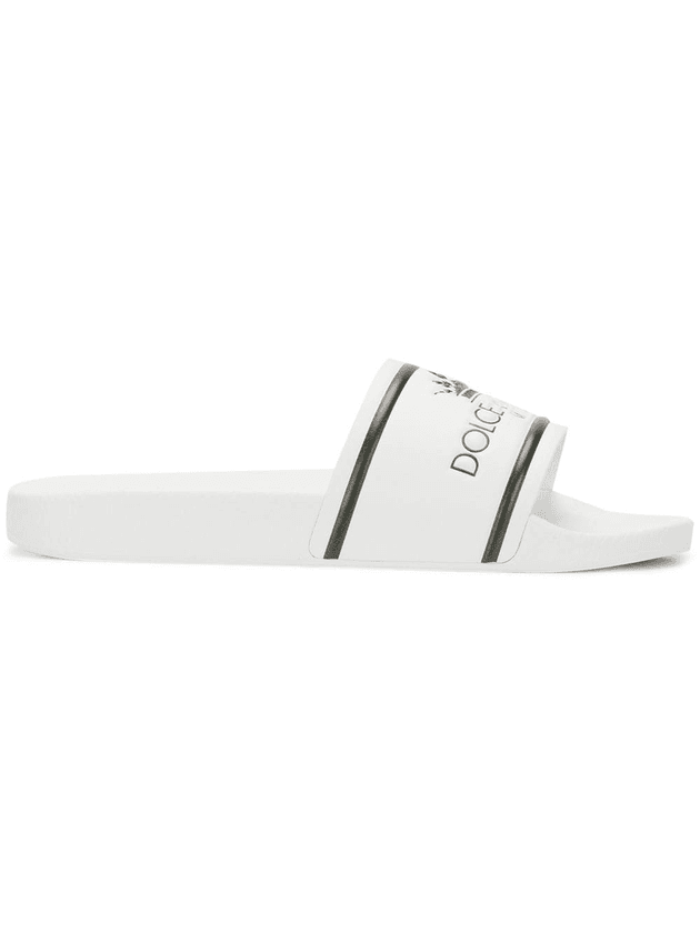 d1be40b589f5 Dolce & Gabbana front logo slippers | White | MILANSTYLE.COM