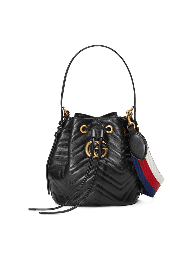 d07277bad Gucci GG Marmont quilted leather bucket bag | Black | MILANSTYLE.COM
