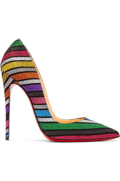 new concept 6c266 ee58b Christian Louboutin - So Kate 120 Striped Glittered Suede Pumps - Metallic