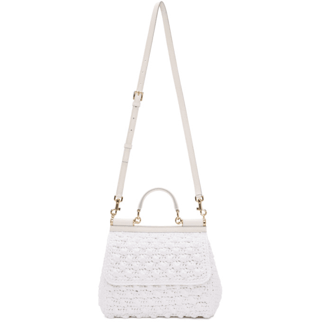 093e467399fc Dolce   Gabbana White Medium Raffia Miss Sicily Bag