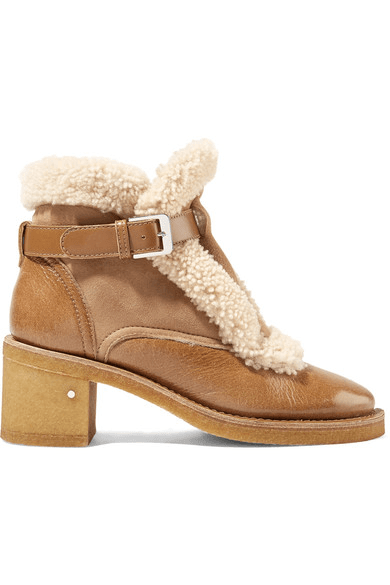 7850ad179549d Laurence Dacade | Snow Shearling-trimmed Glossed-leather And Suede ...