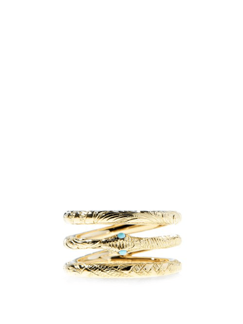 95c22218a Gucci | Ouroboros Triple Band 18kt Gold & Turquoise Ring | Womens ...