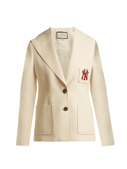 20d55f404 Gucci   Ny Yankees Patch Single Breasted Wool Blend Blazer   Womens ...