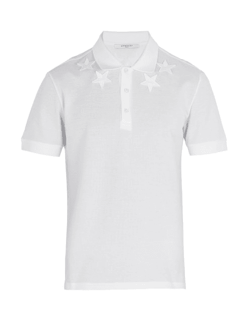 c7449349 Givenchy | Star Embroidered Polo Shirt | Mens | White | MILANSTYLE.COM