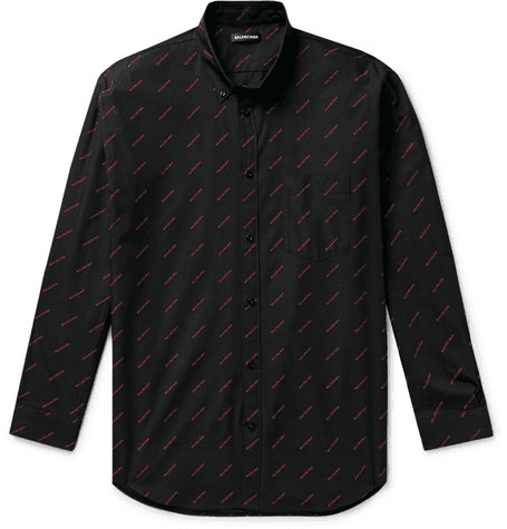 b7f447671332 Balenciaga | Button-down Collar Logo-print Cotton-poplin Shirt | Black |  MILANSTYLE.COM