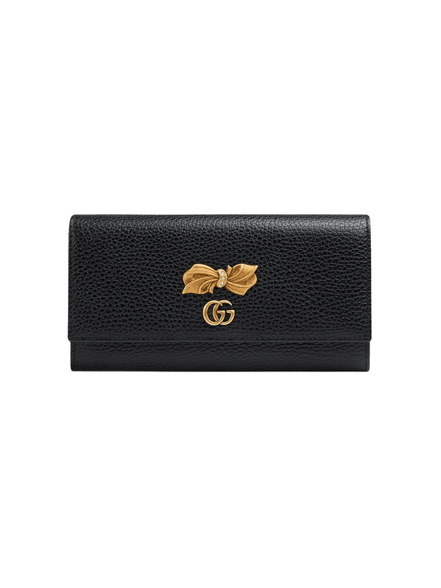9cad4623d8cc Gucci Leather continental wallet with bow | Black | MILANSTYLE.COM